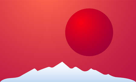 Sunset in mountain Vector illustration with copy space Big red round solar disk above snowy mountain peacks on red gradient background