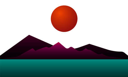 Abstract landscape Vector illustration with copy space Red sun above lilac mountains on white background Vettoriali