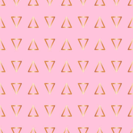 Cute rose gold print Vector illustration in flat design Seamless pattern with bright golden triangles on pink background