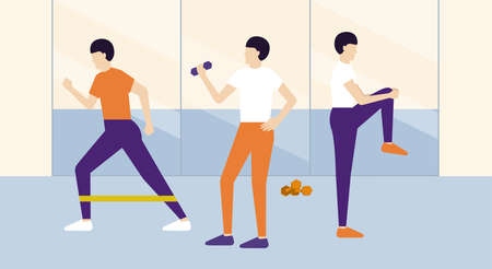 Active people in gym class Healthy lifestyle Vettoriali