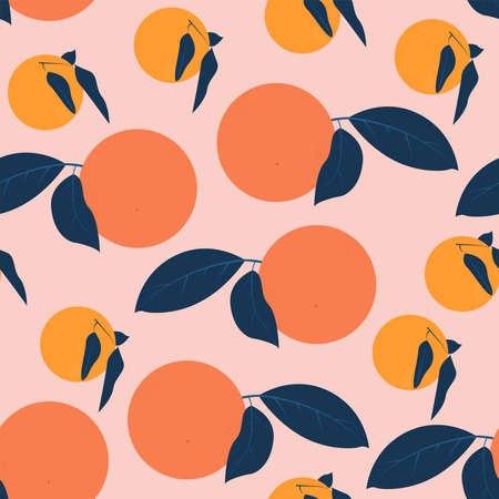 Seamless pattern with oranges Vector illustration in flat design