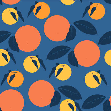 Citrus fruits seamless pattern Vector illustration in flat design