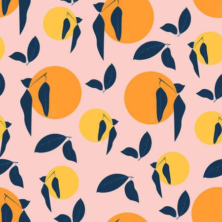 Citrus seamless pattern Vector illustration in flat design