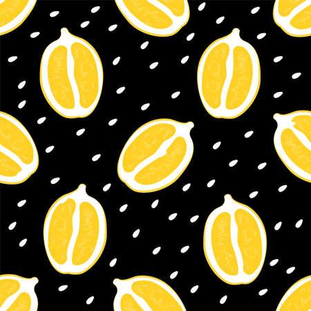 Lemon halves seamless pattern Vector illustration in flat design