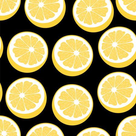 Lemons seamless pattern Vector illustration in flat design