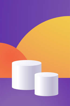 Vector illustration with showcase in minimal style Two white podiums on bright colorful abstract background