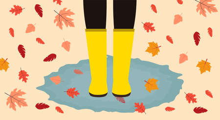 Falling leaves. Vector illustration in flat design Human in yellow boots is standing in puddle among falling autumn leaves