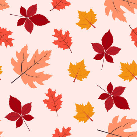 Autumn leaves. Seamless pattern in flat design Colorful fallen maple leaves on light pink background