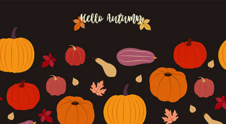 Hello, autumn. Vector illustration in flat design Seamless pattern with cute different pumpkins and dry leaves on black backdrop