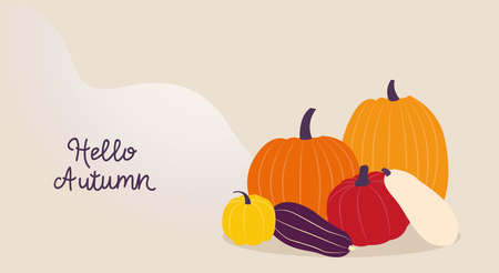 Autumn. Vector template for posters and banners with copy space Various colorful pumpkins on wavy beige backdrop with inscription Hello, autumn. Flat design