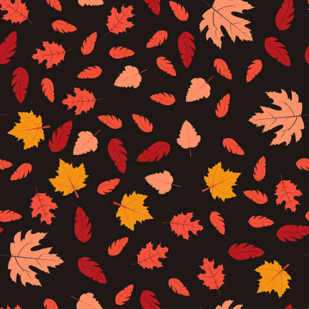 Seamless pattern with autumn leaves. Vector illustration Red, orange and yellow falling leaves on black background Vettoriali