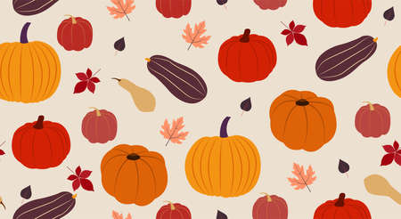 Autumn seamless pattern. Vector illustration in flat design Many cute pumpkins and falling autumn leaves on beige background Vettoriali