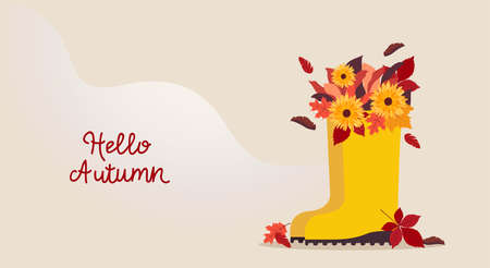 Hello autumn. Vector template for posters and banners with copy space Yellow boots with autumn bouquet on wavy beige backdrop. Flat design