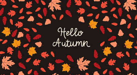 Autumn. Template for posters and banners in flat design Vector illustration with colorful falling leaves with inscription Hello, autumn on black background