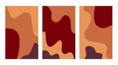 Autumn. Vector banners set with copy space. Three abstract wavy banners. Social media stories wallpapers