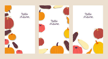 Hello autumn. Background collection with copy space. Three colorful banners with various pumpkins on white backdrop. Flat design