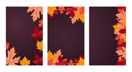 Autumn. Vector background collection with copy space. Three banners with autumn colorful leaves on dark purple backdrop. Flat design