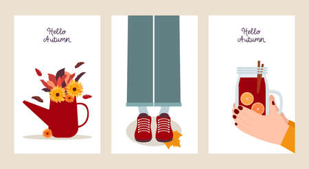 Hello autumn. Set of postcard templates in flat design. Three colorful banners with autumn illustrations. Autumn bouquet, mulled wine and leaf fall Vettoriali