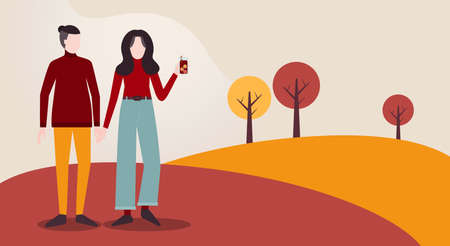 Autumn season. Vector illustration with copy space. Young walking couple in love. Flat design
