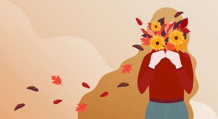 Fall season. Vector illustration with copy space. Long-haired girl with autumn bouquet in her hands on wavy gradient backdrop