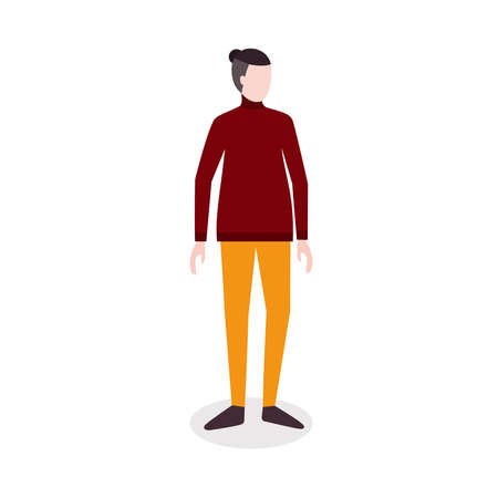 Autumn style look. Posing model. Vector icon in flat design