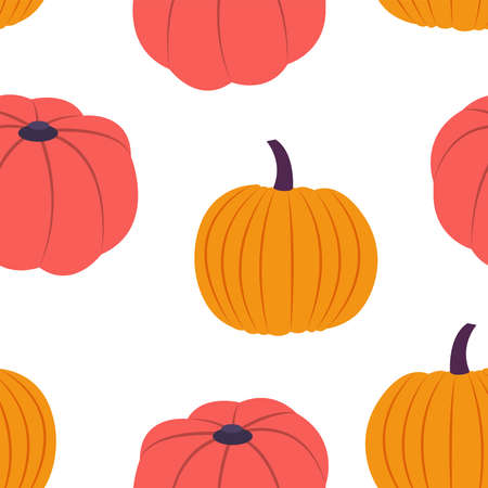 Squashes. Vector seamless pattern in cartoon style
