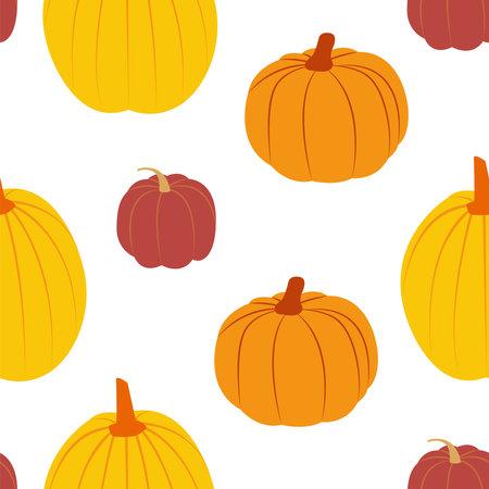 Pumpkins. Vector seamless pattern in flat design