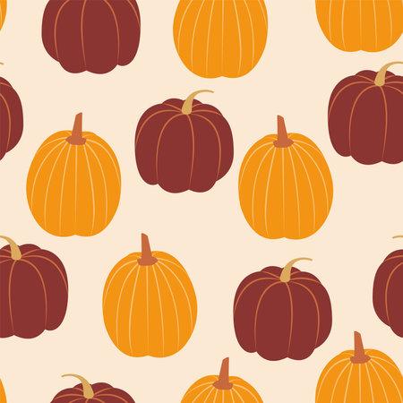 Pumpkins. Autumn season. Vector seamless pattern. Cartoon style
