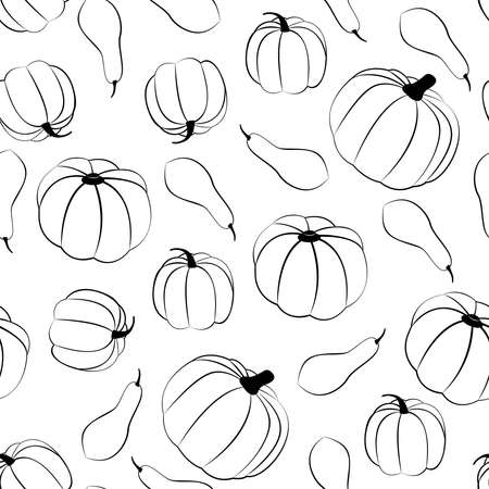 Squashes. Vector seamless pattern in line style Vettoriali