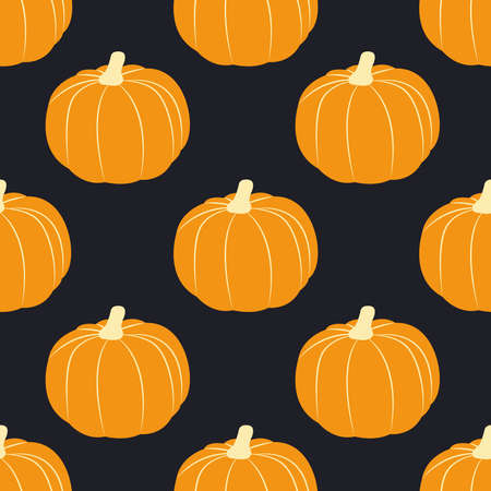 Vector seamless pattern with pumpkins. Flat design Vettoriali