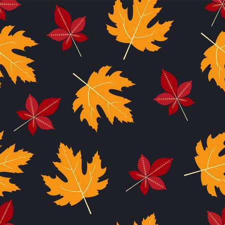 Forest dried leaves. Vector seamless pattern in flat design