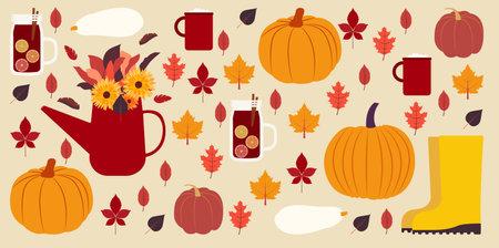 Fall season items background. Vector illustration in flat design Vettoriali