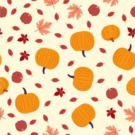 Vector seamless pattern. Autumn plants and harvest