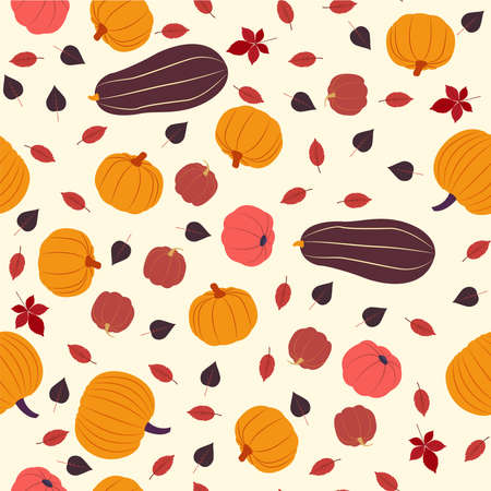 Vector seamless pattern of fall season. Flat design
