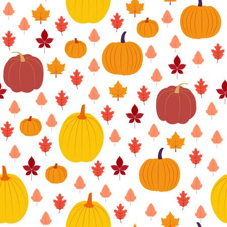 Autumn symbols.Vector seamless pattern in flat design