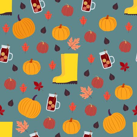 Autumn symbols seamless pattern. Vector illustration in flat design Vettoriali