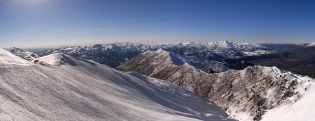 coronet: Coronet Peak winter mountains panorama