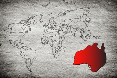 World map, Australia old paper Stock Photo - 12841164