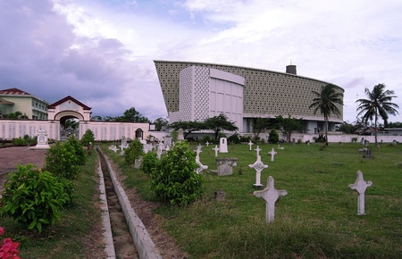 Tsunami memorial building in Banda Aceh, North Sumatra, Indonesia. Modern building to remember one of the biggest natural disasters (2004) - image 2-5-2009 Editorial