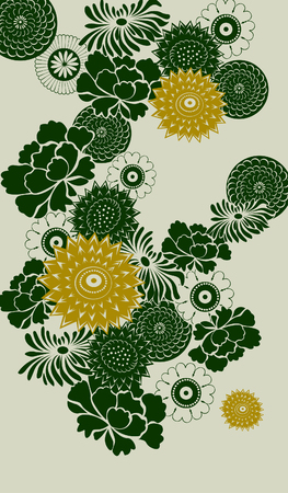 decorative floral background- green and yellow elements Illustration