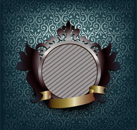 textfield: ornate medallion with ribbon - dark blue