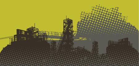 paesaggio industriale: panorama industriale - vettoriale - verde