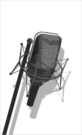microfono radio: micr�fono-en blanco y negro ilustraci�n vectorial