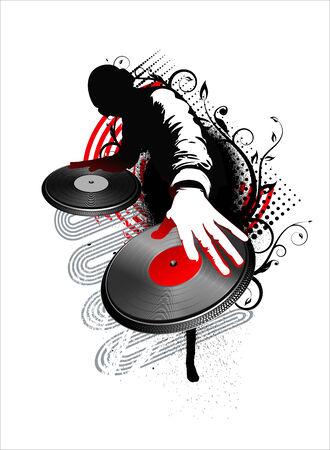dj: dj mix - red and black vector illustration Illustration