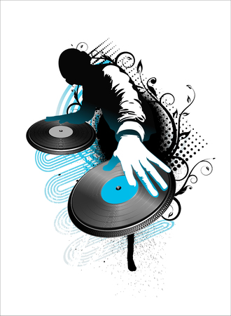 dj mix- blue and black vector illustration