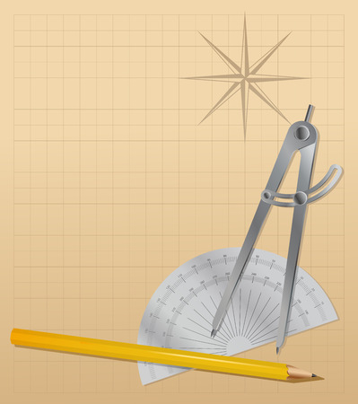 protractor: drawing tools - pencil, protractor , divider .