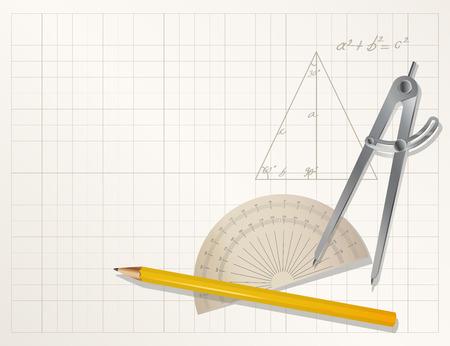 protractor: drawing tools - pencil, protractor, divider  Illustration