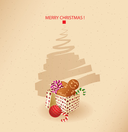 gingerbread cake: christmas greeting card- present, sweet and gingerbread cake-  Illustration
