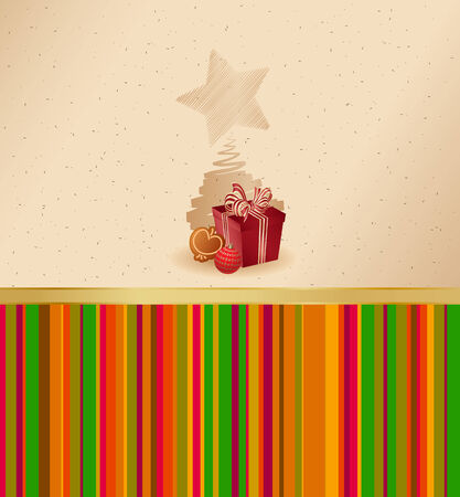 gingerbread cake:  Stock Illustration: christmas greeting card- present, ball and gingerbread cake