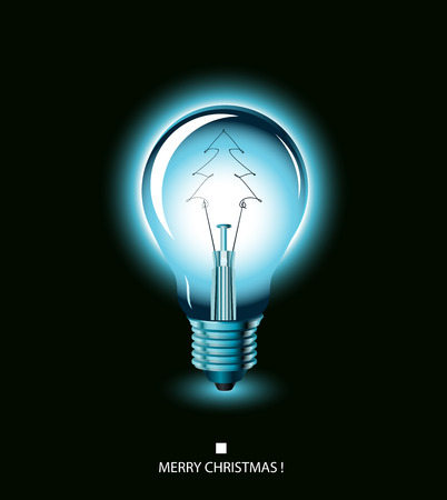 christmas tree light bulb - blue. Illustration